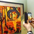 L'inauguration d'une exposition des peintures de Sylvester Stallone au château du Musée d'Etat russe des ingénieurs à Saint-Pétersbourg en Russie le 27 octobre 2013