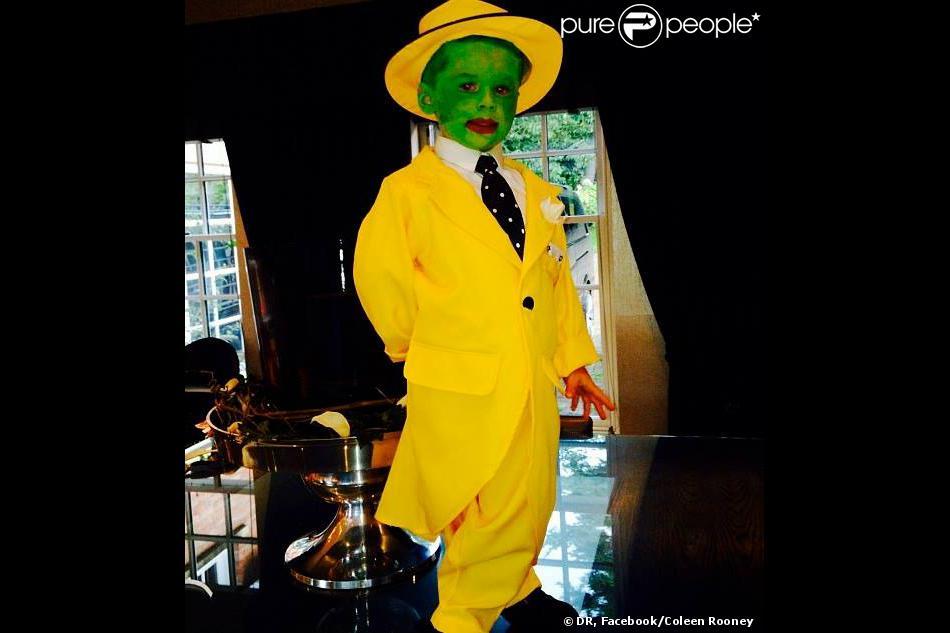 Kai Rooney, 4 ans, fils de Coleen et Wayne Rooney, s'est déguisé en The Mask le 31 octobre 2013 pour Halloween