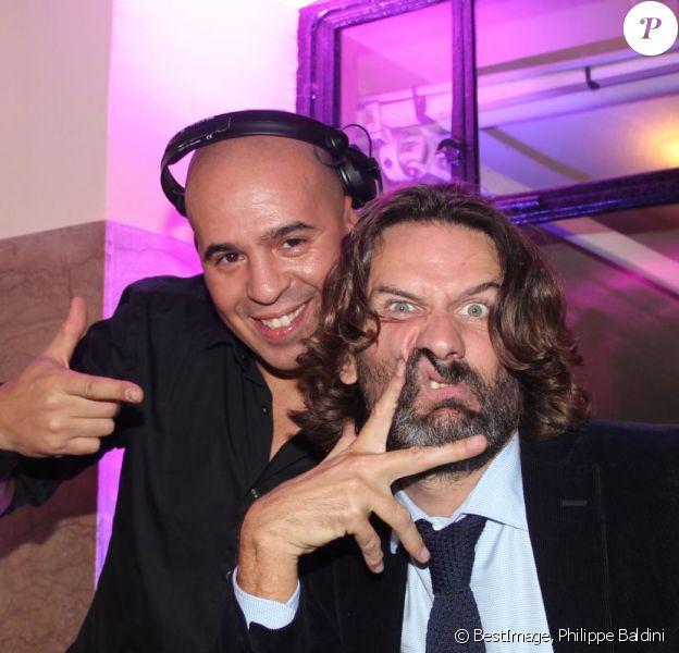 Kut Killer et Frédéric Beigbeder lors du prix de Flore 2013, au Café de Flore, le jeudi 7 novembre 2013.