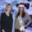 Sylvie Tellier, enceinte, et Marine Lorphelin découvrent le Noël Enchanté des parcs Disneyland Paris, à Marne-la-Vallée, le 9 novembre 2013.