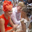 Le roi Willem-Alexander et la reine Maxima des Pays-Bas en visite sur l'île de Saint-Eustache dans les Caraïbes le 15 novembre 2013