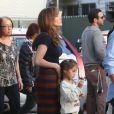 """Jennifer Lopez reçoit la visite de ses enfants Max et Emme sur le tournage du film """"The Boy Next Door"""" à Los Angeles, le 17 novembre 2013."""