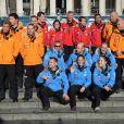 Le prince Harry le 14 novembre 2013 à Londres lors de la présentation des trois équipes engagées dans le South Pole Allied Challenge disputé en Antarctique à partir du 29 novembre.