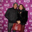 """Olivier Dacourt et son amie Stéphanie à la représentation du nouveau spectacle du Cirque du Soleil, """"Kooza"""", sur l'ïle Seguin à Boulogne-Billancourt, le 26 novembre 2013."""