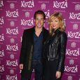 """David Lantin et son amie Eléonore Boccara, nouvelle miss météo d'i>télé, à la représentation du nouveau spectacle du Cirque du Soleil, """"Kooza"""", sur l'ïle Seguin à Boulogne-Billancourt, le 26 novembre 2013."""
