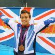 Tom Daley fête sa médaille de bronze durant les JO de Londres, le 11 août 2012.