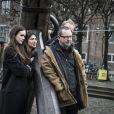 Stacy Martin, Charlotte Gainsbourg, Lars von Trier lors du photocall du film Nymphomaniac à Copenhague, le 4 décembre 2013.