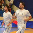 Nikola et Luka Karabatic lors de la rencontre entre le PSG Handball et Montpellier le 30 septembre 2012 à Paris