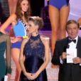 Sonia Rolland, Miss France 2000, présente les 12 demi-finalistes de Miss France 2014 lors de l'élection Miss France 2014 sur TF1, en direct de Dijon, le samedi 7 décembre 2013