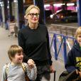 Exclusif - Quinn et Roan - Sharon Stone et ses trois enfants Roan, Quinn, et Laird arrivent à l'aéroport d'Orly en provenance de Marrakech, le 30 novembre 2013.