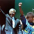Nelson et Winnie Mandela à Oakland le 30 juin 1990.