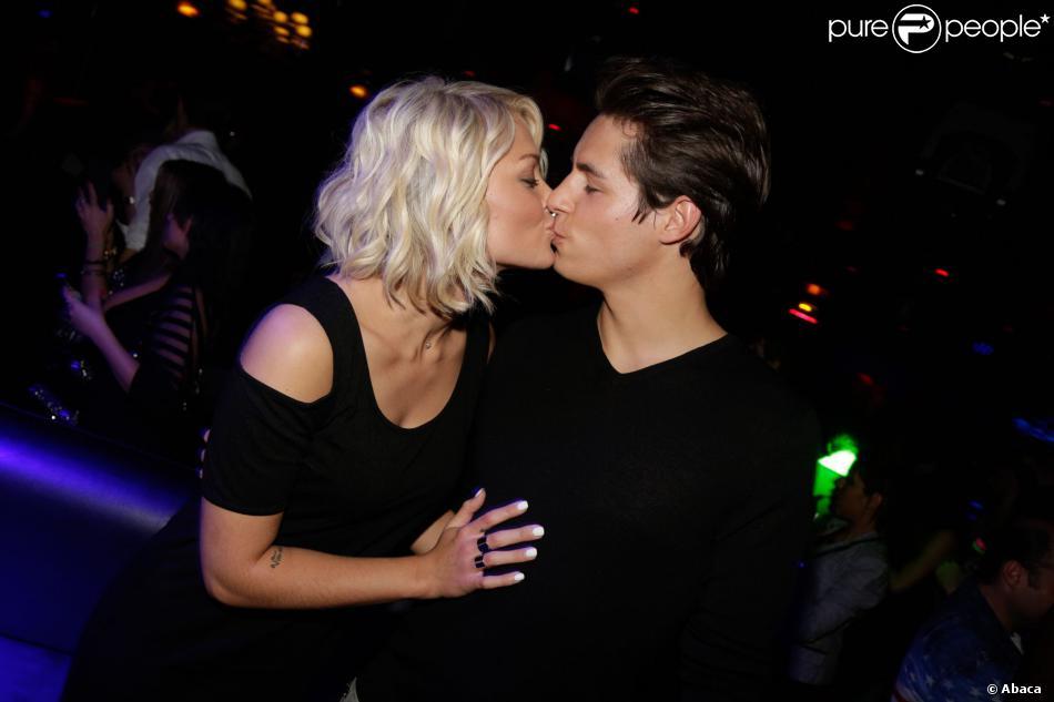 Caroline Receveur et son compagnon Valentin - Soirée Hollywood Girls 3. Au club Le Madam à Paris. Le 12 décembre 2013.