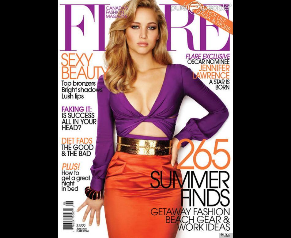 Jennifer Lawrence en couverture de Flare, juin 2011.
