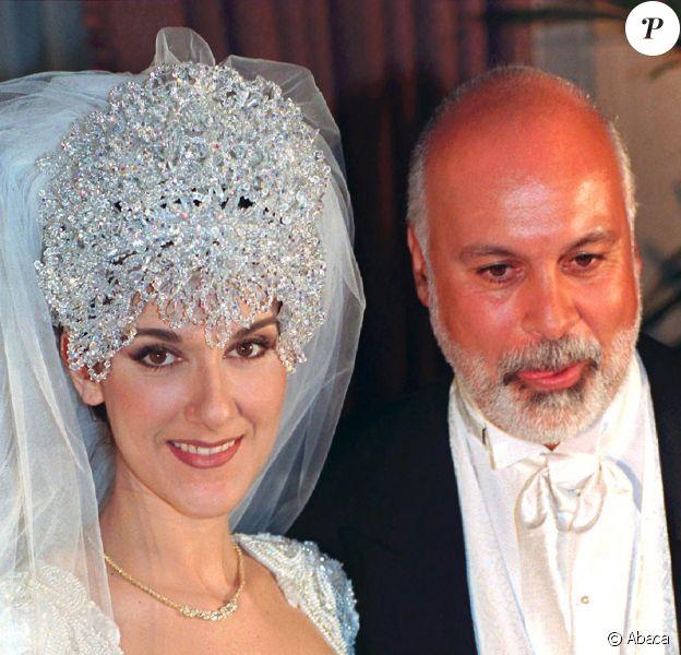 Céline Dion et René Angélil, lors de leur mariage, à Montréal, le 17 décembre 1994.