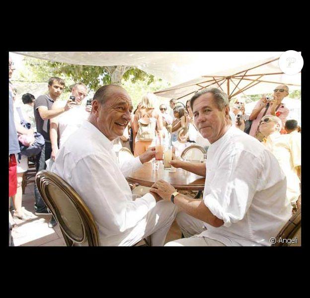 Jacques Chirac avec son ami Jean Louis Debré à Saint Tropez