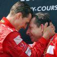 Michael Schumacher et Jean Todt après le Grand prix de Magny-Cours le 21 juillet 2002