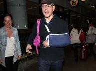 Matt Damon : Blessé au bras et sac rose sur l'épaule, il commence mal l'année