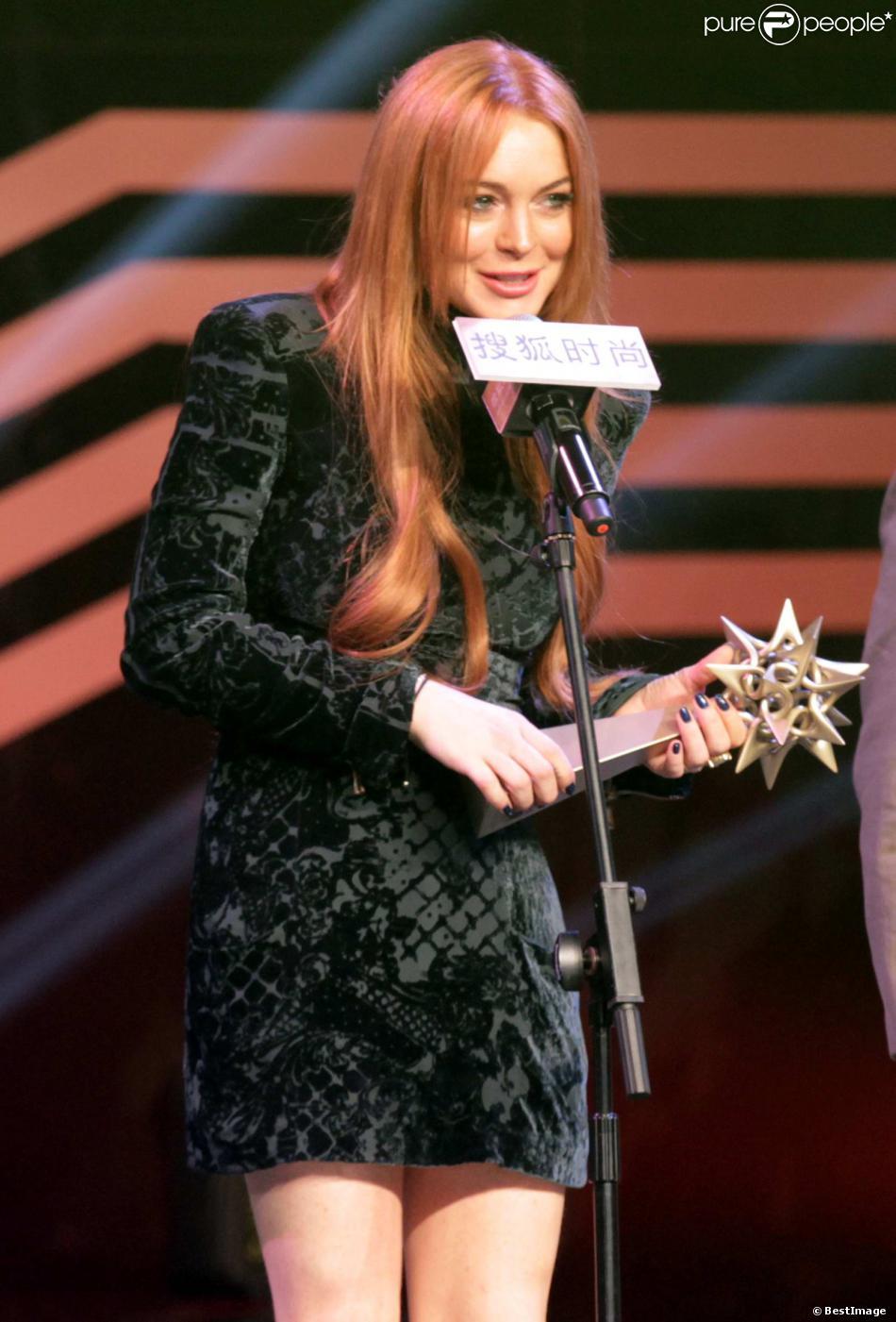 Lindsay Lohan récompensée lors de la 2e édition des Sohu Fashion Achievement Awards à Shanghai, le 6 janvier 2014.