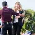 Katherine Heigl retrouve Mario Lopez sur le plateau de l'émission Extra à Universal City le 10 janvier 2014.