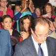 François Hollande, Julie Gayet, Aurelie Filippettilors de la convention d'investiture de François Hollande pour la présidentielle de 2012 à la Halle Freyssinet à Paris, le 22 octobre 2011.