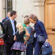La reine Sofia d'Espagne à Genève le 28 septembre 2013, à l'occasion du 14e anniversaire de son petit-fils Juan Valentin, fils de l'infante Cristina et Iñaki Urdangarin