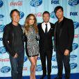 Keith Urban, Jennifer Lopez, Ryan Seacrest et Harry Connick Jr. lors de la première d'American Idol, à Los Angeles, le 14 janvier 2014.