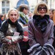 Franca Sozzani et Anna Wintour au défilé Schiaparelli Haute couture printemps-été 2014 à Paris, le 20 janvier 2014.