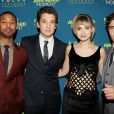 Michael B. Jordan, Miles Teller, Imogen Poots et Zac Efron à la première du film That Awkward Moment à New York le 22 janvier 2014.