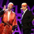 """Philippe Chevallier et Regis Laspalès sur le filage de leur spectacle """"Vous reprendrez bien quelques sketches ?"""" au théâtre de la Renaissance à Paris le 22 janvier 2014."""