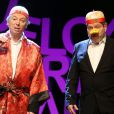 """Philippe Chevallier et Regis Laspalès sur le filage de leur pièce """"Vous reprendrez bien quelques sketches ?"""" au théâtre de la Renaissance à Paris le 22 janvier 2014."""