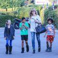 Heidi Klum et 3 de ses 4 enfants, Leni, Henry et Johan, de sortie à Los Angeles. Le 19 janvier 2014.