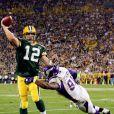 Aaron Rodgers des Green Bay Packers en action en septembre 2008, contre les Minnesota Vikings.