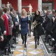 La princesse Mary de Danemark était associée à la ministre Sofie Carsten Nielsen à la glyptothèque de Copenhague le 6 février 2014 pour la remise du Prix de la Recherche Elite.
