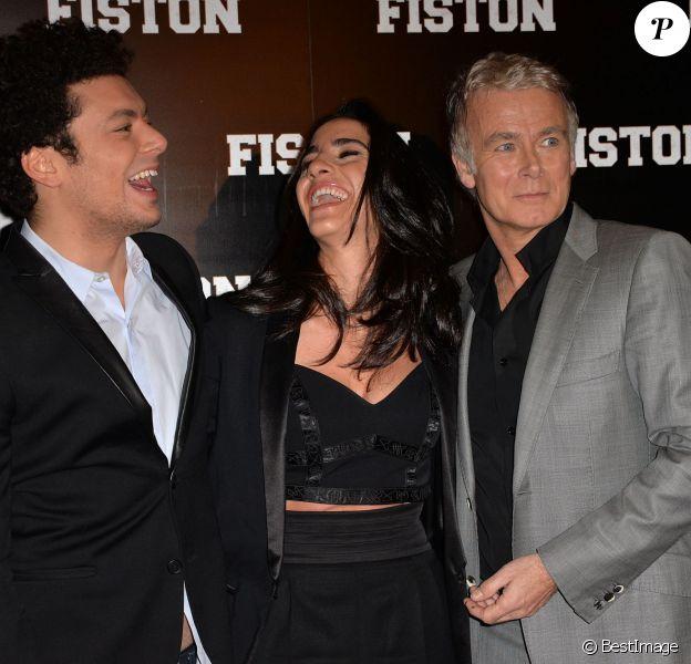 Kev Adams, Franck Dubosc et sa femme Danièle lors de la première du film Fiston au Grand Rex à Paris, le 10 février 2014.