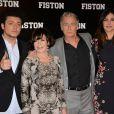 Kev Adams, Danièle Évenou, Franck Dubosc et Helena Noguerra lors de la première du film Fiston au Grand Rex à Paris, le 10 février 2014.