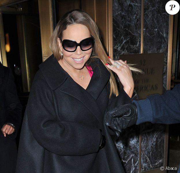 Mariah Carey quitte la radio Z100 à New York, le 12 février 2014.