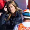 Bode Miller et sa belle Morgan Beck après l'épreuve du Super Combiné aux Jeux olympiques de Sotchi au Rosa Khutor Alpine Center de Sochi, le 13 février 2014