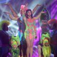 Katy Perry sur la scène des Brit Awards à l'O2 Arena, de Londres, le 19 février 2014.