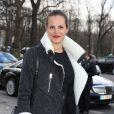 """Laure Manaudou arrive au défilé de mode """"Guy Laroche"""", collection prêt-à-porter Automne-Hiver 2014/2015, au Grand Palais à Paris. Le 26 février 2014"""