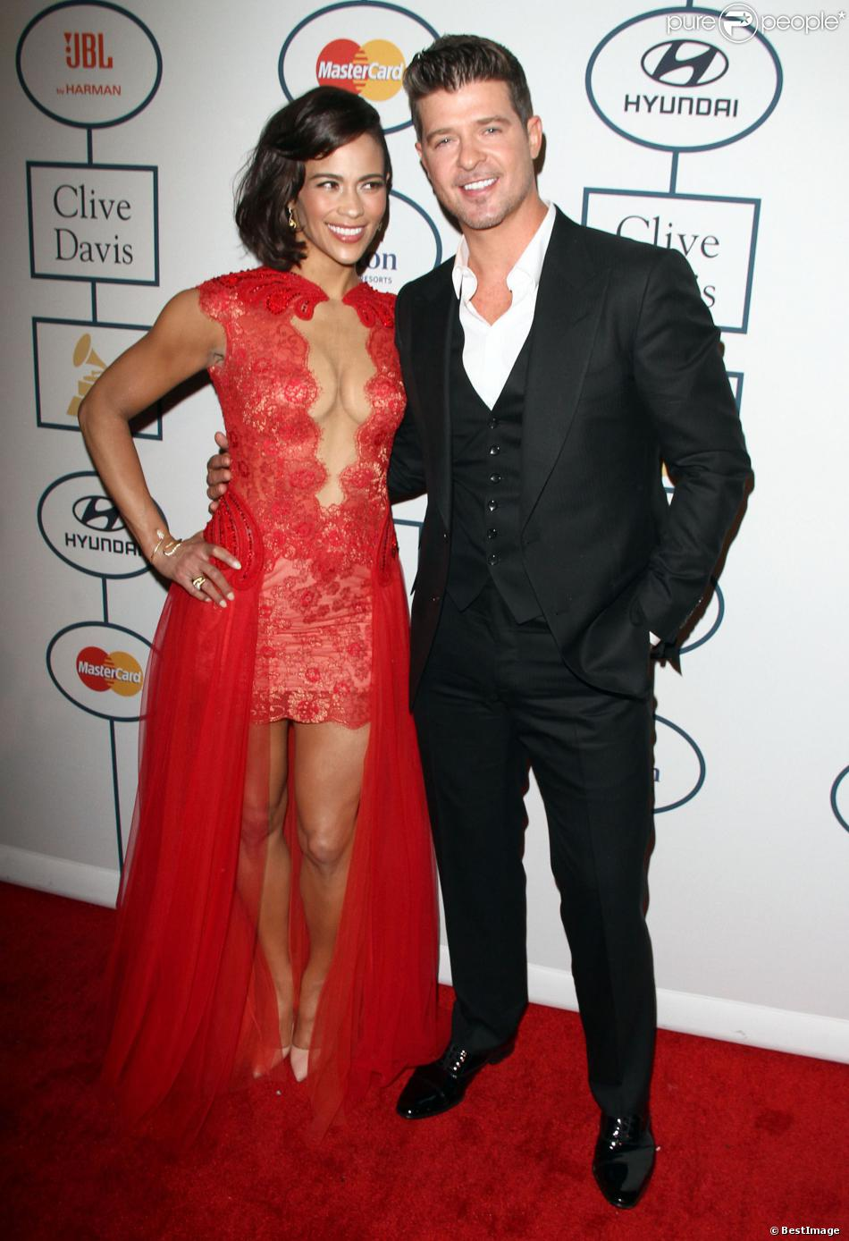 Paula Patton, Robin Thicke - 56e Soirée pre-Grammy and Salute To Industry Icons au Beverly Hilton Hotel de Beverly Hills, le 25 janvier 2014.