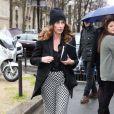 Mademoiselle Agnèsarrive à L'Observatoire pour assister au défilé Balenciaga automne-hiver 2014-2015. Paris, le 27 février 2014.
