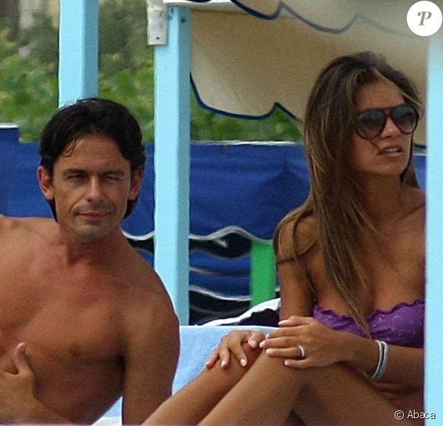 Filippo Inzaghi et Alessia Ventura à Forte dei Marmi, le 28 juin 2009.