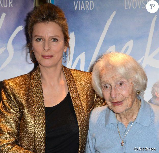 """Karin Viard et Gisèle Casadesus lors de l'avant-première du film """"Week-Ends"""" réalisé par Anne Villacèque, à Paris, le 25 février 2014"""