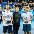 Laure Manaudou entouré des finalistes de l'Open 13 de tennis à Marseille le 23 février 2014. Jo-Wilfried Tsgona s'est incliné face au Letton Ernets Gulbis.