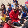La princesse Charlene de Monaco à Capbreton le 1er septembre 2013 pour promouvoir le programme Learn to Swim de la Fondation Princesse Charlene.