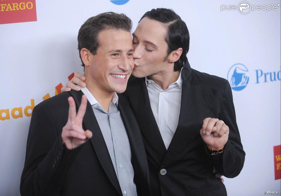 Victor Voronov et Johnny Weir (à droite) à New York, le 24 mars 2012.