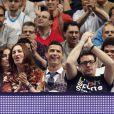 Cristiano Ronaldo était au Palais des Sports de Madrid, accompagné de sa belle Irina Shayk, pour le match d'Euroligue entre le Real Madrid et le CSKA Moscou, le 20 mars 2014 à Madrid