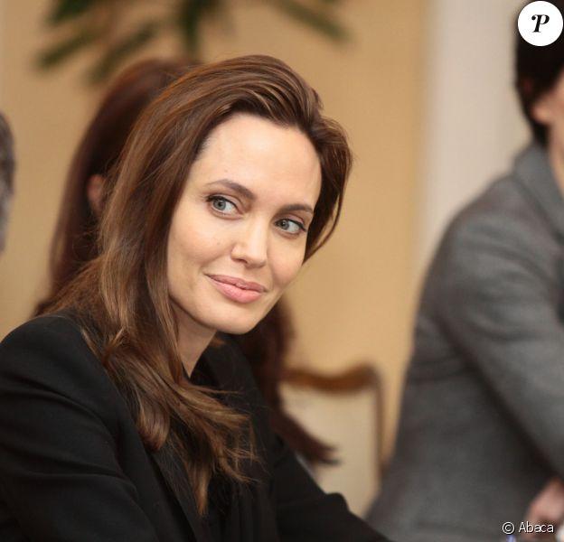 Angelina Jolie rencontre les membres de la présidence tripartite de Bosnie à Sarajevo, le 28 mars 2014.
