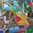 Jennifer Lopez et Claudia Leitte tournent le clip de We Are One à Miami. Le 11 février 2014.