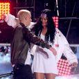 Eminem et Rihanna interprètent The Monster lors des MTV Movie Awards 2014 au Nokia Theatre L.A. Live. Los Angeles, le 13 avril 2014.